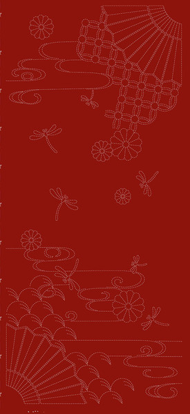 Wagara Sashiko Autumn Sky Red Keepsake Quilting