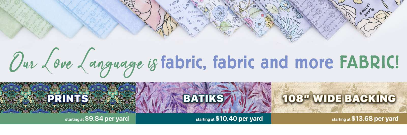 Shop our new catalogOur LOVE language is fabric, fabric and more FABRIC!